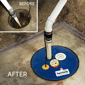 Submersible sump pump with SuperLiner basin