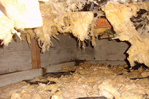 Fiberglass insulation falling in crawl space