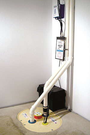 TripleSafe sump pump installed in a basement